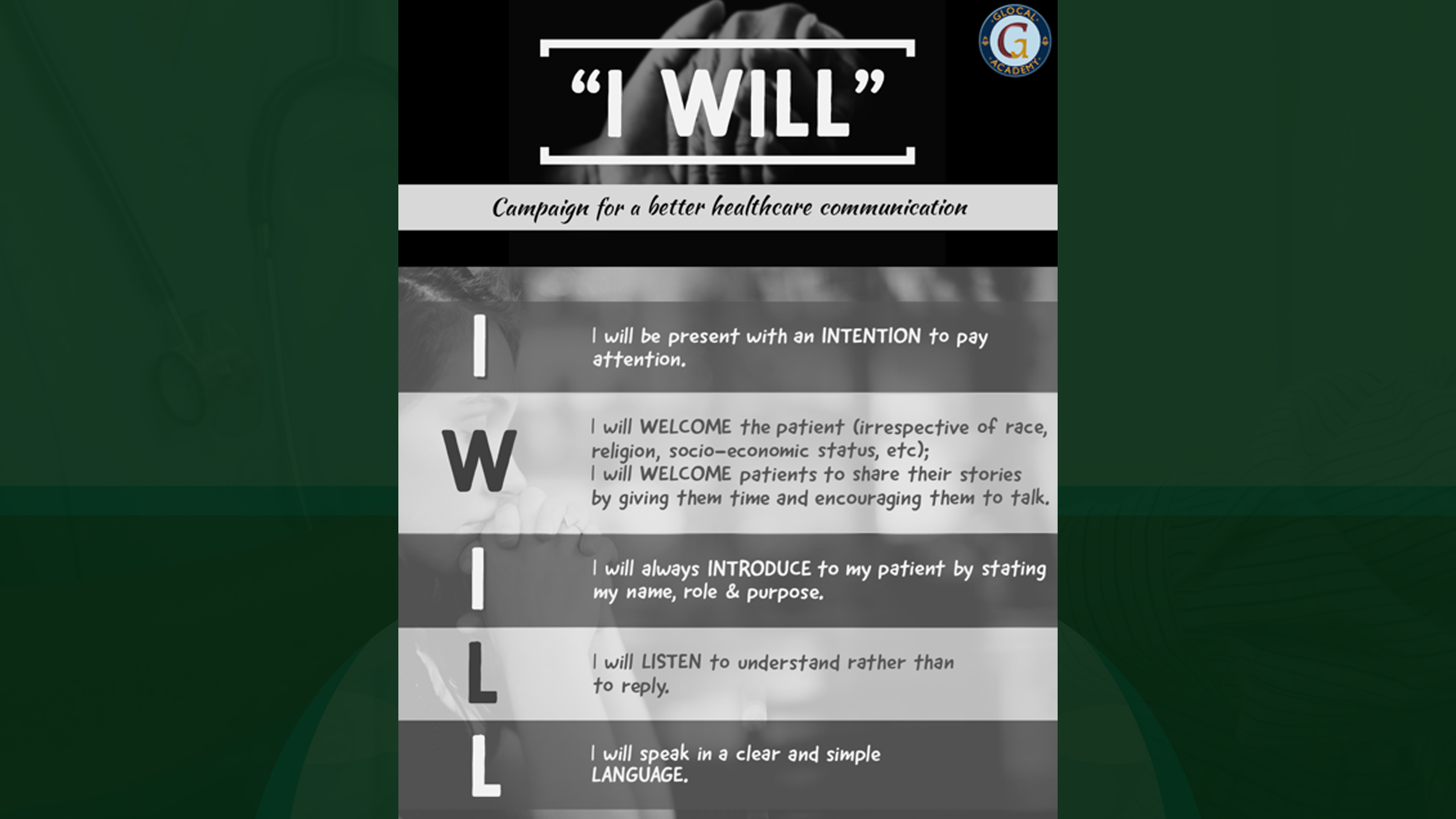 """""""I WILL"""" Campaign for A Better Healthcare Communication"""